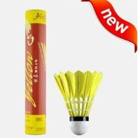 National unique manufacturer yellow badminton shuttlecock goose feather