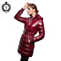 2016 COUTUDI women winter wine red long shiny windproof leather coat