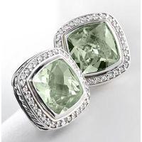 925 Silver Women Fashion Inspired 11mm Prasiolite Albion Earrings thumbnail image