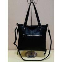 popular hot sale custom design leisure black leather handbag