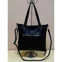 popular hot sale custom design leisure black leather handbag