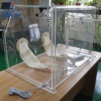 Lab Bench-top Acrylic Transparent Glovebox With Optional Box Sizes Customized Acrylic Glovebox thumbnail image