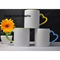 11oz sublimation mug with heart shaped handle