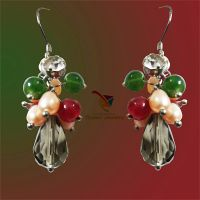 Most popular European fashion jewelry silver plated colorful crystal pearl gemstone handmade earring