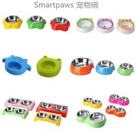 smartpaws cartoon pet bowl melamine cat bowls with stainless steel for dogs and cats