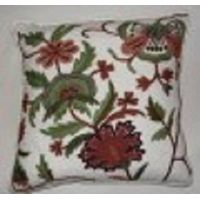 Crewel Pillow Dahiana Forest Colors on Off-White cotton Duck (18x18) thumbnail image