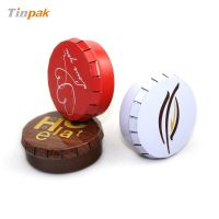 portable round click clack tin box for pills