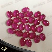 oval flat back cabochon cut synthetic corundum gemstone 5# red ruby