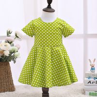 2017 Childrens Designer Clothes Cut Kids Dresses Green Children Clothing LSCG1701G
