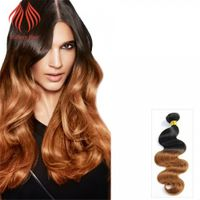 12 - 26 INCH HOT SALE OMBRE HAIR EXTENSIONS BODY WAVE #1B/30 TWO TONE COLOR HAIR EXTENSIONS