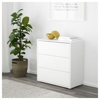 Cabinet with 3 drawers, white