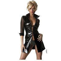 H9076 sexy black leather coat