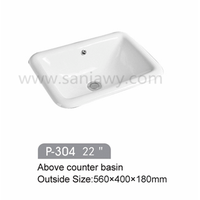 China supplier hotel square counter bathroom ceramic wash basin