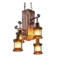 Vintage wooden light hanging metal box lamp led lights chandelier thumbnail image