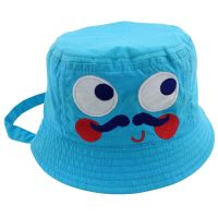 Cute applique embroidery face kids blue bucket hat with string Custom inside plaid lining bucket hat