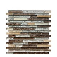 Strip Glass Mix Stone Mosaic for Bathroom