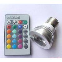 E27 3w RGB Multi-color flash LED Bulbs + remote control thumbnail image