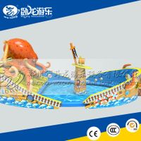 giant inflatable water park, large playground slide