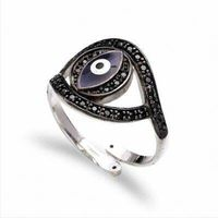 Classic Black 925 Sterling Silver Evil Eye Ring With Black CZ
