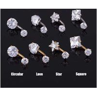 European popular four - claw stainless steel belly rings, attractive women double zircon navel ring. thumbnail image
