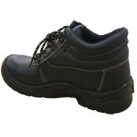 Middle Cut Black Genuine Leather Anti-slip Safety Shoes thumbnail image