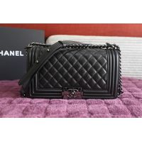 Chane All Black Le Boy Flap Bag A67025 in Black Original Lamnbskin Leather Black Hardware