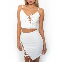 Sexy Lace Up Top with Mini Skirt 2 Pcs Women Bodycon Dress Clubwear thumbnail image