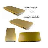 Portable Metal Golden Mobile Phones Power Bank 2 USB Output