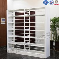 Metal Material Double Sided Library Book Shelves