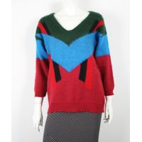 Ladies V Neck Off Shoulder Color Combination Sweater