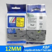 12mm tze-631 compatible brother laminated tape black on yellow thermal transfer ribbon thumbnail image