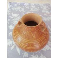 Yellow Leaf pattern Pottery Jar