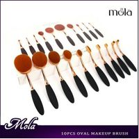 10pcs shiny golden oval shape new makeup brushes