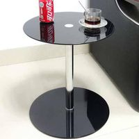 DaoHeng Coffee/End/Sofa/Side Table, Round & Glass(Black)