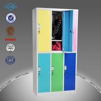 colourful knocked-down steel 6 compartment locker