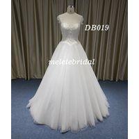 Sweet Style Cap Sleeves Boat Neckline A-Line Wedding Dress