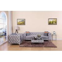 Antique American Style Velvet Fabric Grey Color Wood Frame Couch Sofa for Living Room thumbnail image