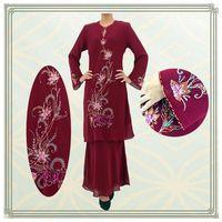 Fashion design plain chiffon beading muslim clothing