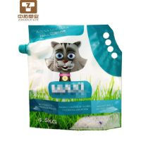 Laminated Material Plastic 5 Liter Die Cut Reinforced Handle Custom Printing Pet Cat Litter Bags