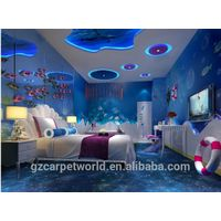 Wall to Wall Nylon Printed 3D Carpet Design For 5 Star Hotel Guestroom