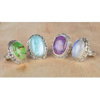 Wholesale Natural Handmade Sterling Silver Gemstone Rings Jewelry