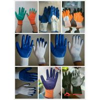 Rubber Latex cotton coated work gloves labor protection gloves