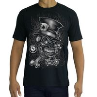 High Quality Cotton Printed T-shirt - TATTOO - SKULL - GAMBLER