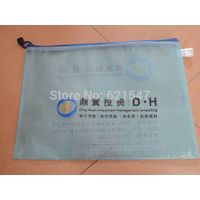 free customized logo printing High-grade Transparent folder A4 mesh zippered bag PVC thickened bag z
