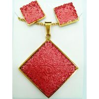 Wholesale Jewelry Party Wedding red azure stone pendant earring 18k Gold plated Jewelry Set