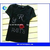 Customzied  cotton spandex  short  sleeve  ladies  studded  t-shirt thumbnail image