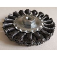 Twisted wire wheel brush 100mm M10-1.5 steel wire thumbnail image