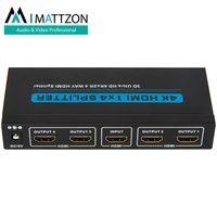 Mattzon 1x4 3D 4K@30hz hdmi splitter support 10.2Gbps, HDCP1.4, HDR support, EDID thumbnail image