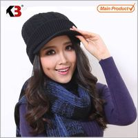 2015 Ladies Elegant Winter Beanies Hats with visor cap