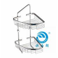 Stainless steel 304 bathroom accessories double tier corner shelf